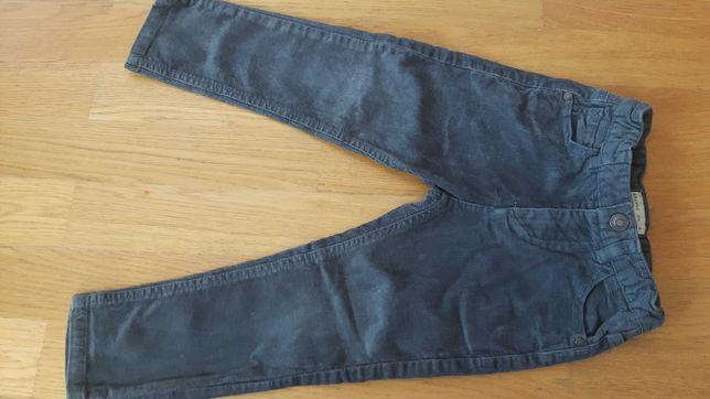Zara spodnie szare sztruksowe r.104 stan bdb
