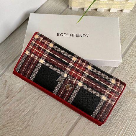 Кожаный женский кошелёк Fendy красный ККФ98