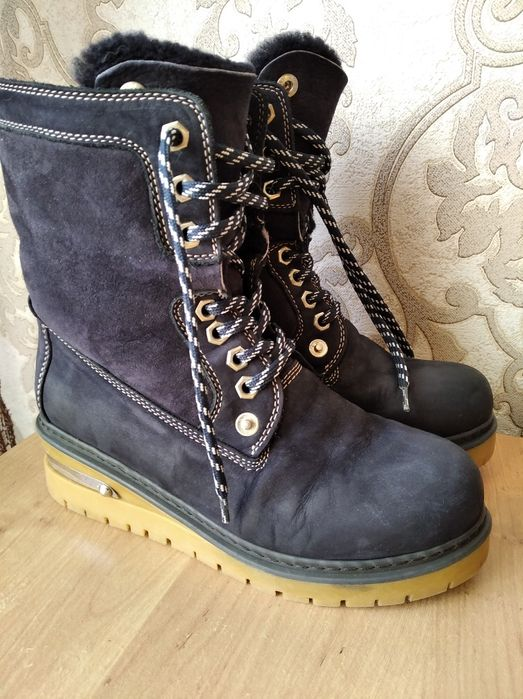 Синие замшевые зимние ботинки сапоги Чоп - изображение 1