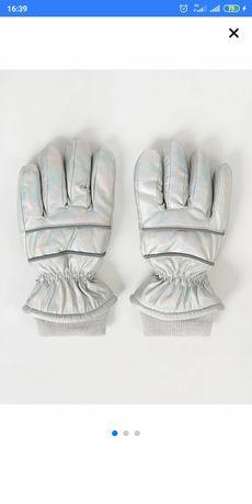 Серебряные радужные  перчатки George Thinsulate девочки 8 9 10 лет.