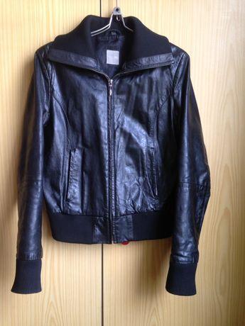 Куртка кожа/ косуха кожаная/ чёрная/ короткая/ натуральная/
