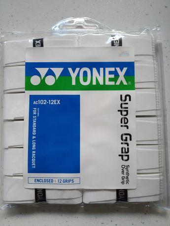 Owijki zewnętrzne tenisowe YONEX SUPER GRAP AC102-12EX-12szt. białe