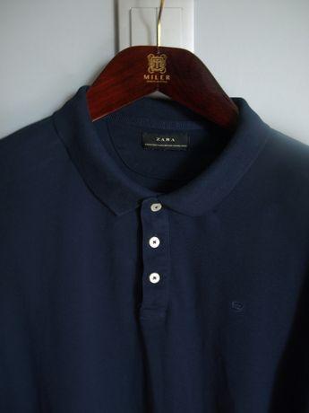 Zara XL XXL koszula polo z długim rękawem granatowa koszulka