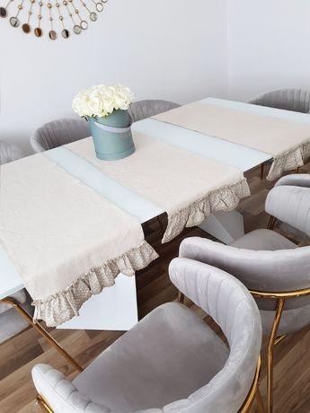 3 szt bieżników na stół + zasłony LNIANE, len, naturalna tkanina