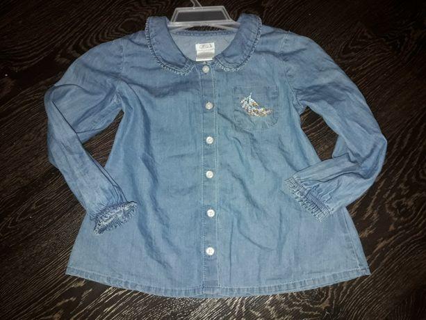 Джинсовая легкая рубашка на девочку 3года