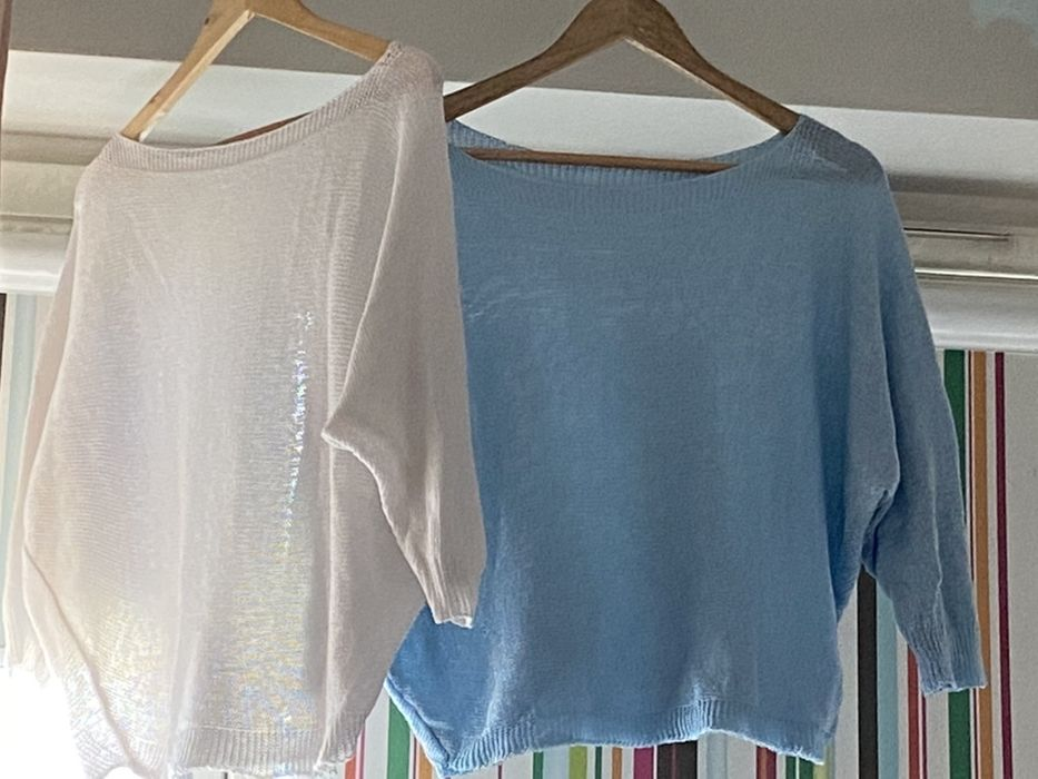 Sweterki bawełniane, biały i niebieski, nowe, rozmiar S Wrocław - image 1
