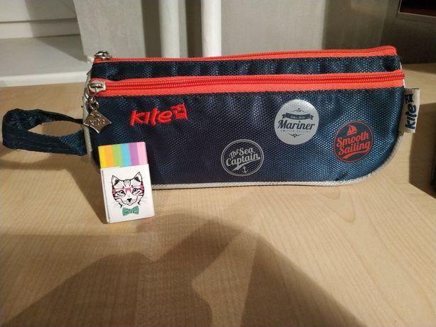 Пенал фирмы Kite синего цвета для мальчика, девочки подарок ластик