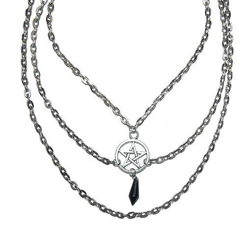 Naszyjnik Pentagram Łańcuch Choker Gothic Amulet