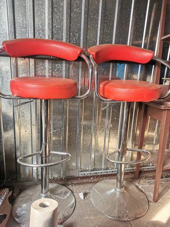 2 krzesła barowe hokery czerwone