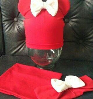 Красный комплект тройка шапка хомут повязка с большим бантом ушки