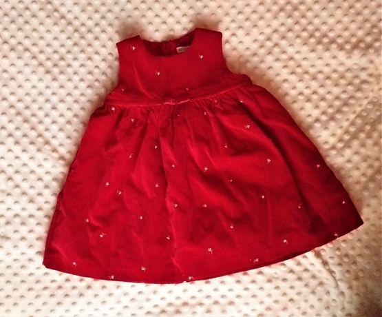 Sukienka czerwona welurowa, na święta