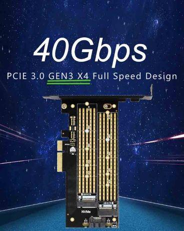 Адаптер на два SSD PCIe 3.0 x4 для M.2 NVMe и B -ke