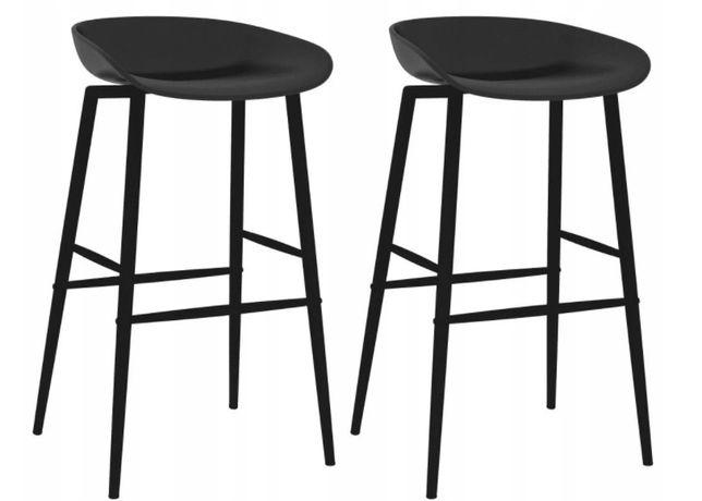 Hoker Stołek Krzesło Barowe 2 Sztuki Czarne
