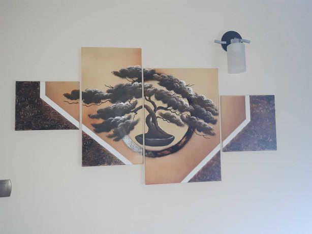 Obraz tryptyk  malowany  drzewko bonsai 120cm n 60cm okazja