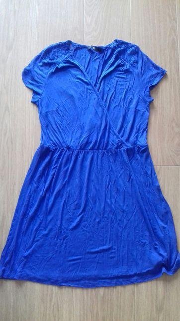Kobaltowa sukienka ciążowa XL 42 z koronką