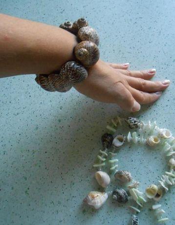 Biżuteria bransoletka + naszyjnik z muszli, muszle, stan idealny