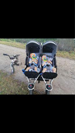 TFK TWIN ADVENTURE 2 wózek bliźniaczy 3w1 nosidelka maxi cosi dodatkii