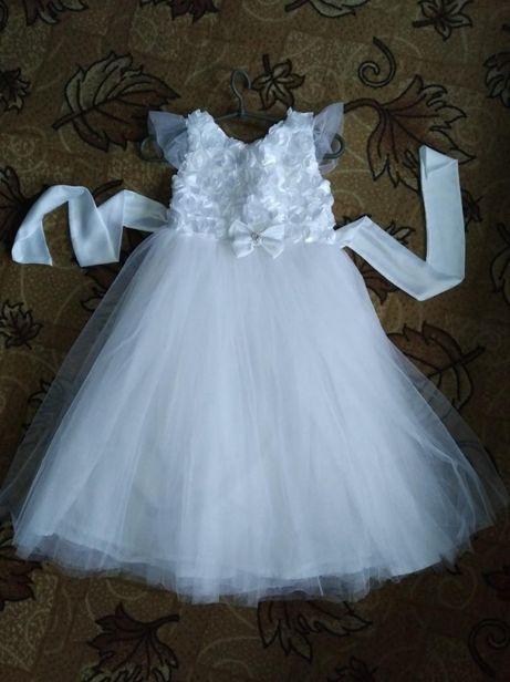 белое пышное платье р.116-128 костюм ангела снежинки бабочки