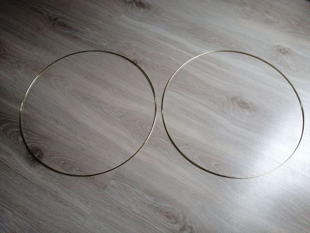 Metalowe złote obręcze, koła 40cm