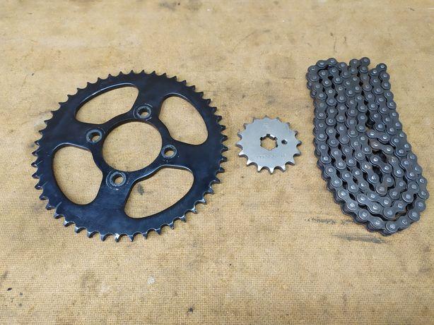 Zestaw napędowy łańcuch zębatka 16 48 części Yamaha DT 80 125 lc1 lc2