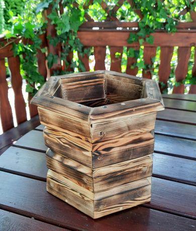 Donica drewniana ogrodowa wysoka doniczka