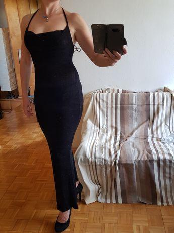 czarna sukienka dluga bez plec