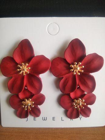 Nowe kolczyki damskie wiszące dlugie kwiaty kwiatki czerwone