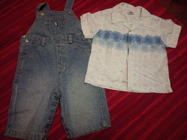 Jardineiras calção em ganga e camisa