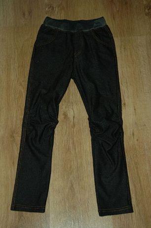 Ciemnogranatowe legginsy jegginsy jeans getry spodnie r.134
