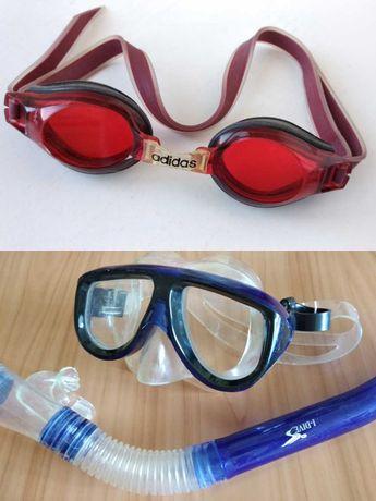 Очки для плавания Adidas, Маска трубка для дайвинга ныряния. набор