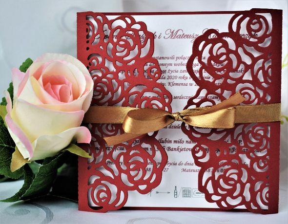 Zaproszenie. Koronka. Róże.Wesele. Ślubne. Kolory