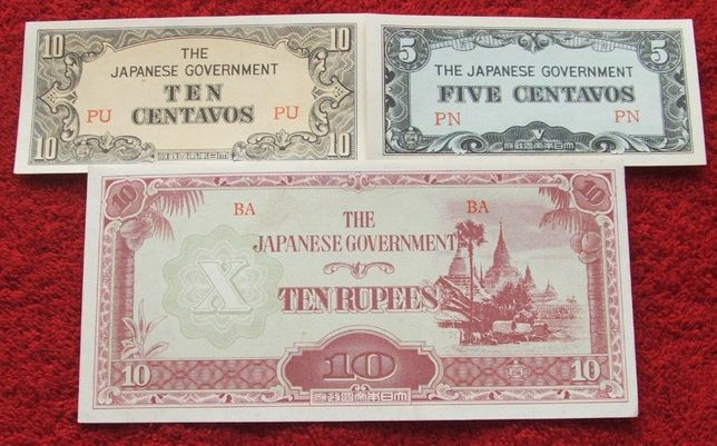 FILIPINY OKUPACJA JAPOŃSKA 1942 ROK Kolekcjonerskie Banknoty - 3 szt.