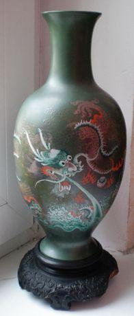 Ваза деревянная, Китай, рисунок - Морской дракон, 1956г. клеймо