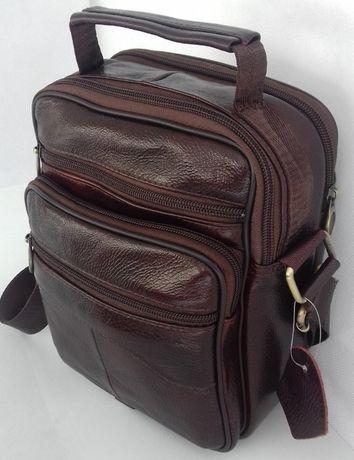 Мужская кожаная сумка-барсетка на плечо