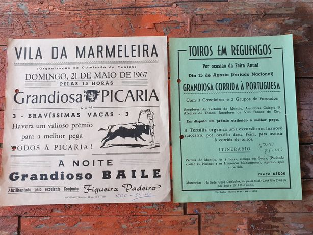 Panfletos antigos de largadas de toiros dos anos 60
