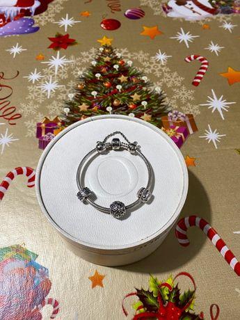Pandora bransoletka + charmsy komplet