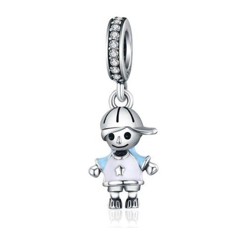 Charms PANDORA srebro 925 chłopiec zawieszka wisząca cyrkonia emalia