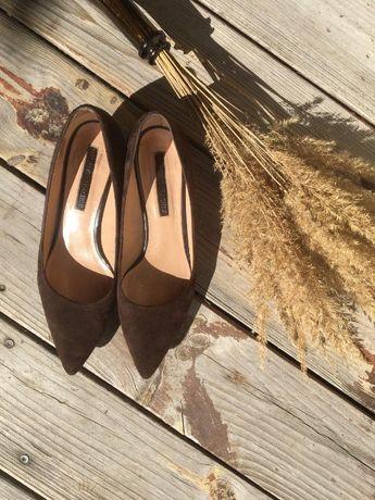 Туфли коричневые замшевые Италия 37 р.