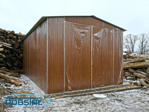 Garaż drewnopodobny 4x5m konstrukcja ocynkowana z profili PRODUCENT