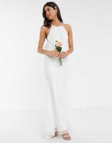 Свадебное платье обшитое бисером jarlo 42 размер xs