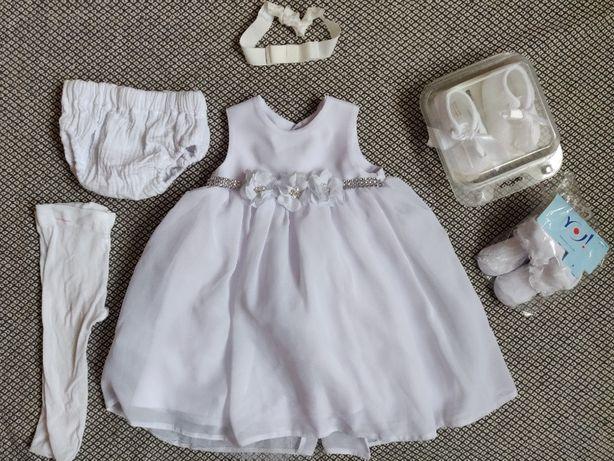 Sukienka na chrzciny biała rozmiar 74
