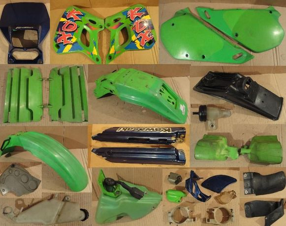 Kawasaki kdx 250 kx 125 крыло пластик морда резонатор глушитель тросик