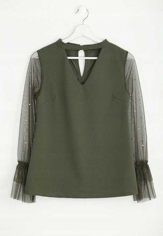 Bluzka z perełkami khaki S