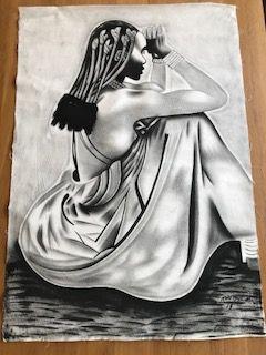quadro com pintura acrílica mulher preto/branco