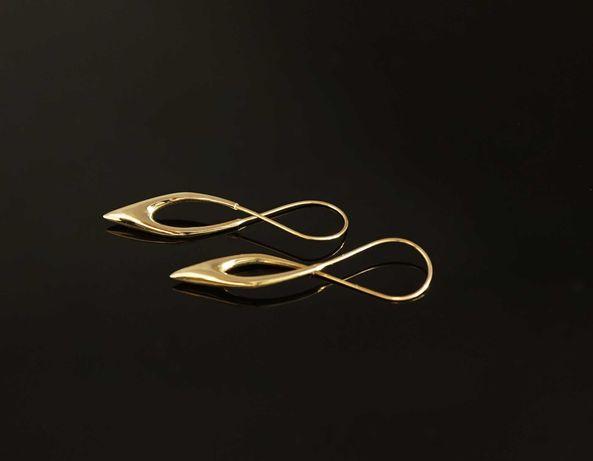 Złoto 585-złote kolczyki damskie wiszące