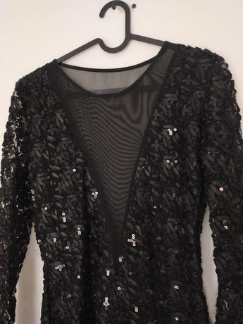 Czarna cekinowa mini sukienka z siateczką S / 36