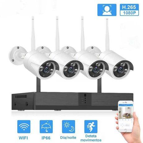 Conjunto CCTV Video Gravador WiFi com 4 Câmaras * SEM FIOS* FullHD