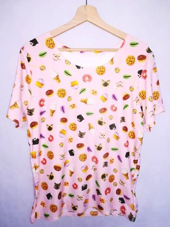 Różowa bluzka/t-shirt w koty rozmiar M/L