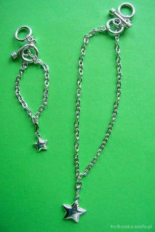 srebrna bransoletka srebrny naszyjnik charms z gwiazdeczka gwiazdki