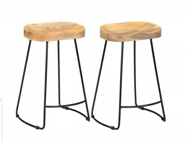 NOWE Hokery stołki barowe krzesła wyspowe Loft drewno + metal